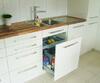 Küche, mit Abfallsystem