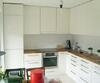 Küche, Front Hochglanz weiß, Platte Nussbaum geölt